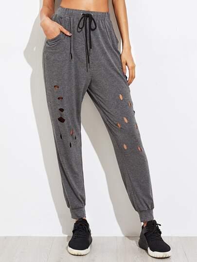 Cut Out Heather Knit Sweatpants
