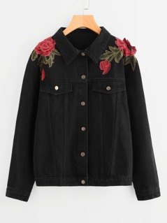 3D Rose Applique Denim Jacket