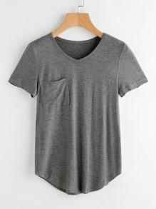 Curved Hem Marled T-shirt
