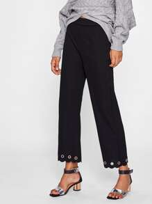 Metal Grommet Embellished Scallop Hem Pants