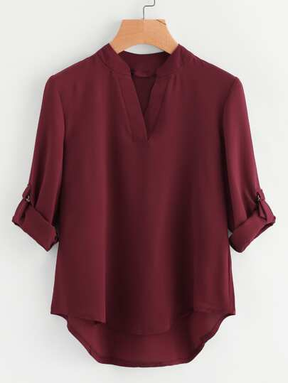 Roll-Up Sleeve Dip Hem Blouse