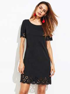 Scalloped Laser Cut Button Keyhole Back Dress