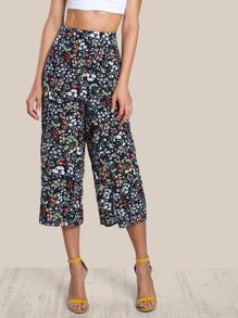 Floral Print Culotte Pants