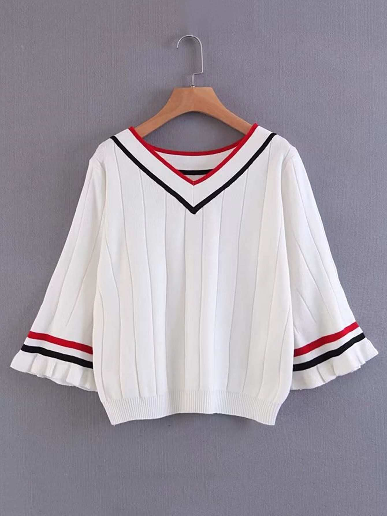 Bell Sleeve Ribbed Trim Sweater RKNI170804202