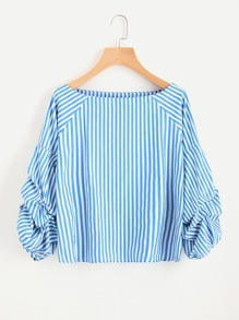 Contrast Striped Billow Sleeve Blouse