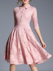 Lapel Sleeve Lace A-Line Dress