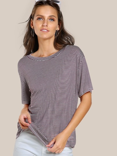 Drop Sleeve Striped Top MARSALA