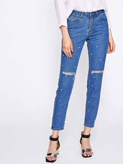 Pearl Beaded Rips Detail Jeans