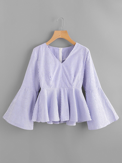 V-neckline Flare Sleeve Vertical Striped Frill Blouse