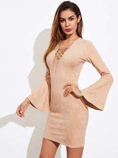 Bell Sleeve Lace Up V Neck Dress