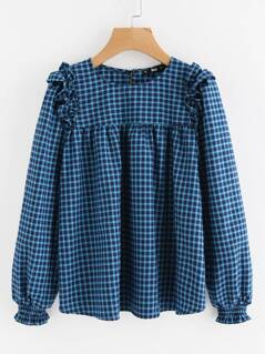 Lantern Sleeve Frill Shoulder Smock Blouse