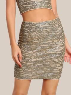 Glitter High Rise Mini Skirt GOLD