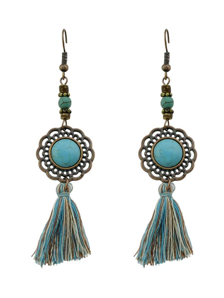 Image of Ancient Gold Gem Tassel Fashionable Earrings