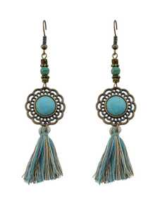 Ancient Gold Gem Tassel Fashionable Earrings