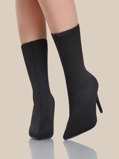 Black Stretch Lycra Heels BLACK