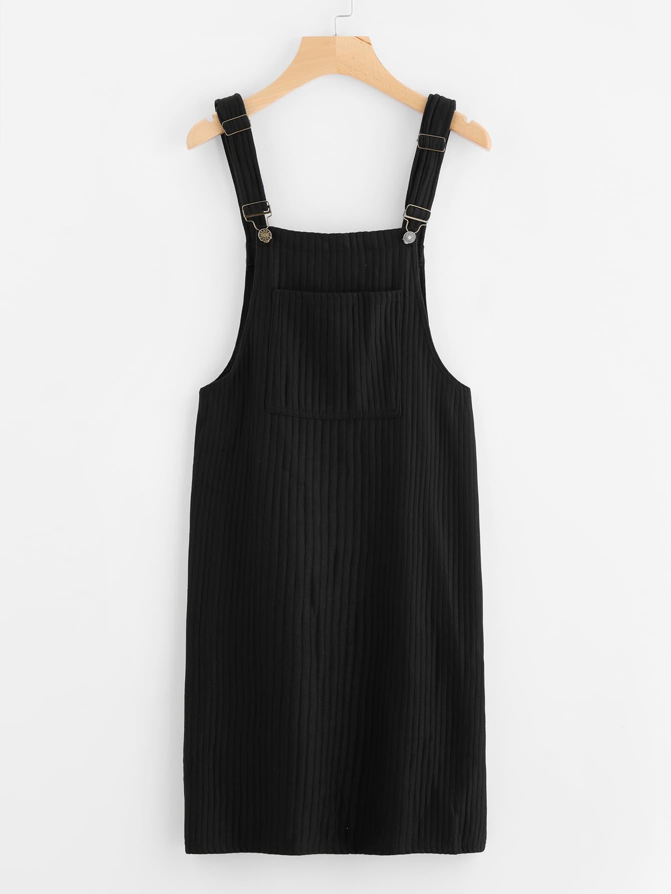 Pocket Front Ribbed Pinafore Dress