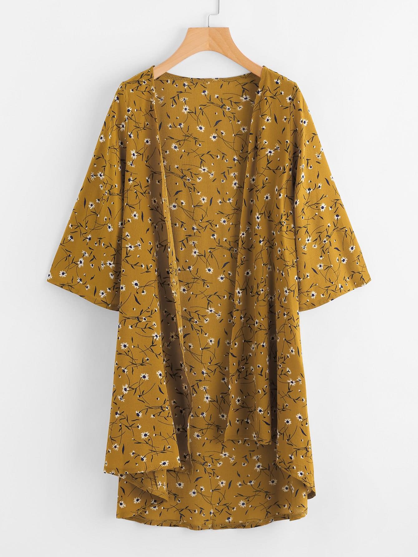 Calico Print Dip Hem Kimono