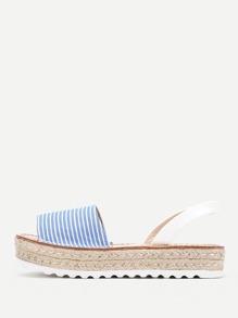 Sandalen mit Streifen,Slingback und Keilabsatz