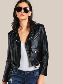 Rivet Detail Belted Hem Biker Jacket
