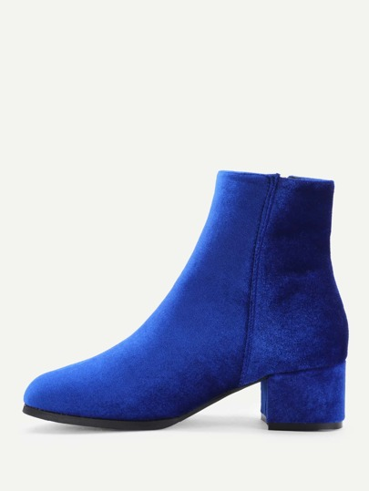 Side Zipper Velvet Block Heeled Ankle Boots