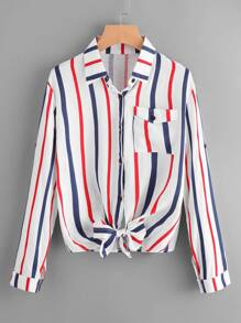 Vertical Striped Roll Tab Sleeve Knotted Hem Shirt