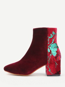 Flower Pattern Detail Velvet Ankle Boots