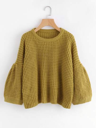 Puff Sleeve Textured Jumper