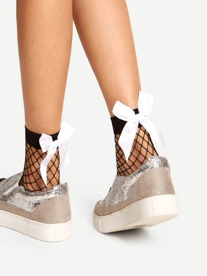 Contrast Ribbon Bow Fishnet Ankle Socks 2pairs