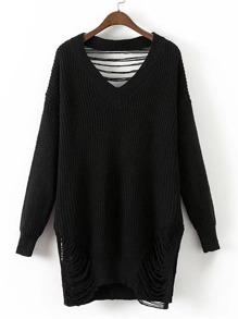 Suéter largo roto escote V
