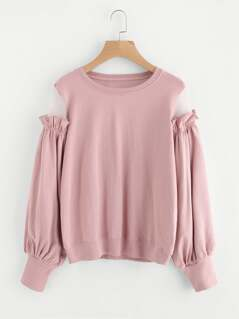 Mesh Panel Frilled Sleeve Pullover