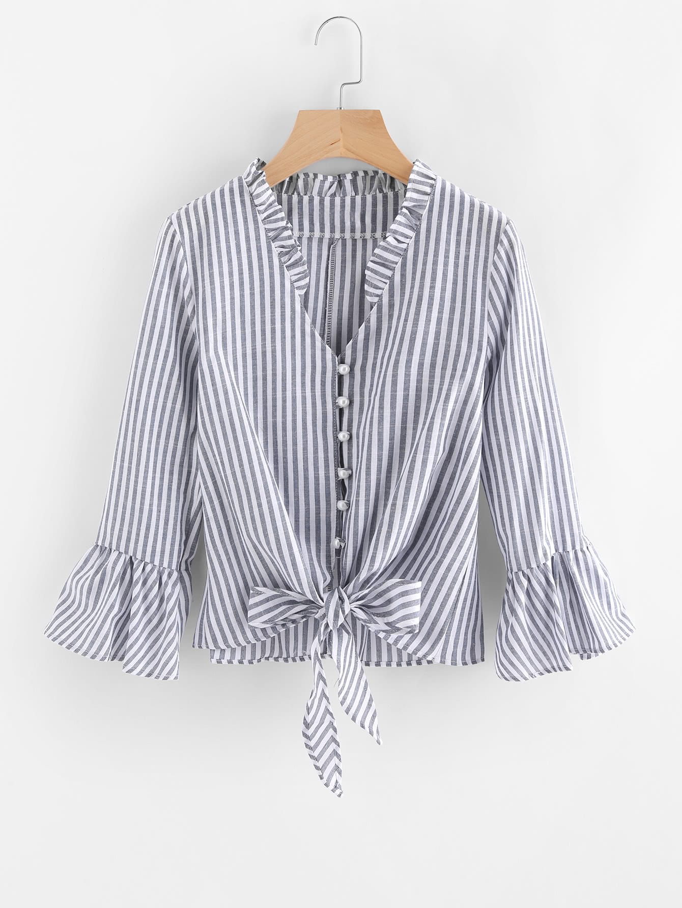 все цены на Contrast Striped Knotted Hem Frill Blouse