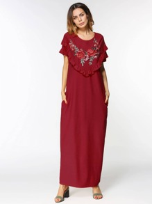 Embroidered Appliques Frill Trim Cocoon Dress