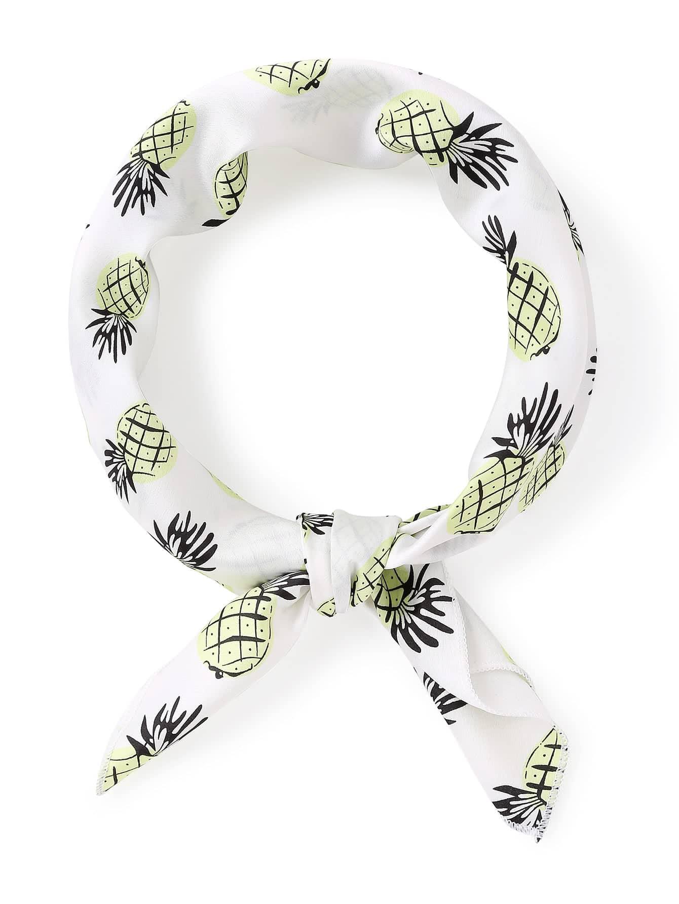 Pineapple Print Satin Bandana
