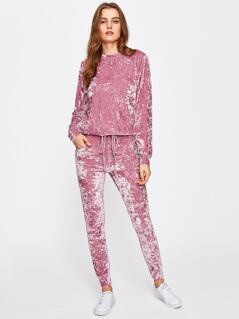 Crushed Velvet Sweatshirt And Drawstring Pants Set