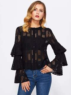 Tiered Bell Sleeve Lace Blouse