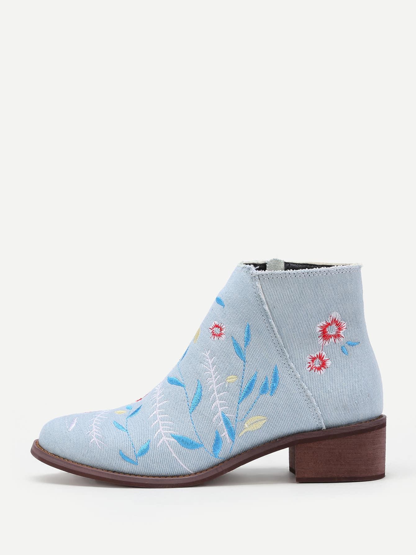 Flower Embroidery Denim Block Heeled Ankle Boots rhinestone flower embellished heeled boots