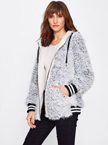 Striped Trim Faux Fur Hoodie Jacket