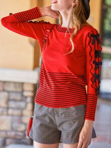 Ruffle Striped Bowknot Sweater