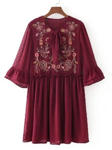 Embroidered Flower Textured Dot Smock Dress