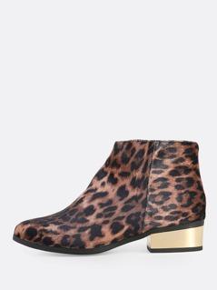 Leopard Print Velvet Booties LEOPARD