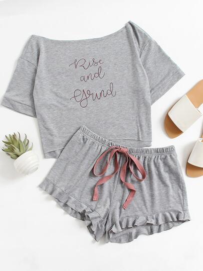 High Low Top And Frill Hem Shorts Pajama Set