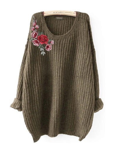 Embroidered Flower Patch Jumper