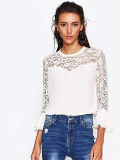 Lace Neck Tiered Bell Sleeve Blouse