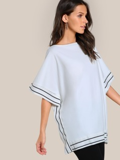 Striped Hem Top WHITE
