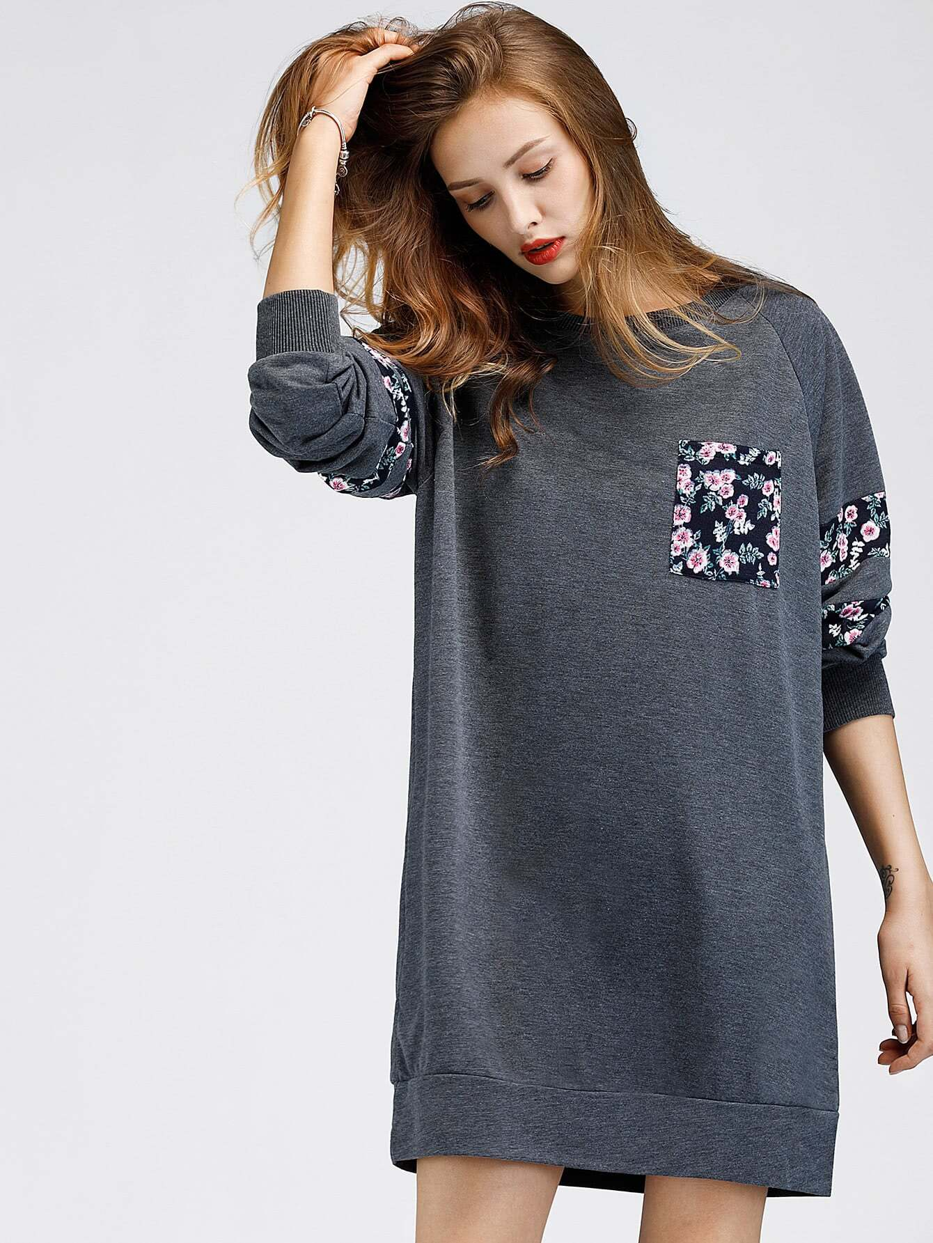 Contrast Panel Raglan Sleeve Marled Sweatshirt Dress raglan sleeve binding marled crop top