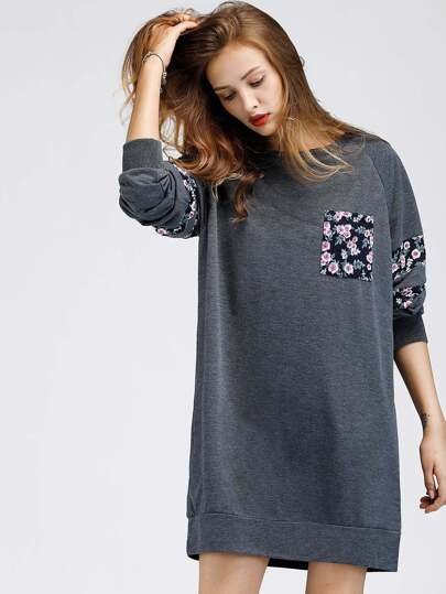 Sweat-shirt robe manche raglan contrasté