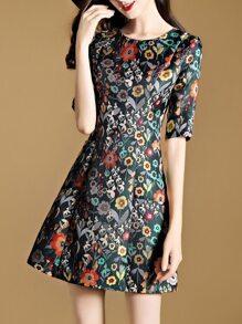 Flowers Print A-Line Dress