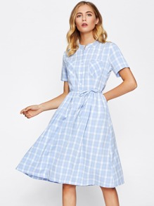 Tartan Plaid Tie Waist Shirt Dress