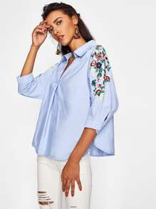 Botanical Embroidered Sleeve V Neckline Shirt