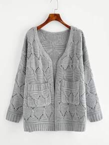 Eyelet Pocket Front Mixed Knit Sweater Coat